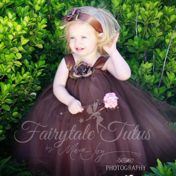Brown-Tulle-Flowers-Ribbon-Gowns