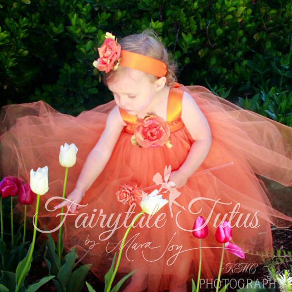 Orange-Fairytale-Sash-Tulle-Dresses