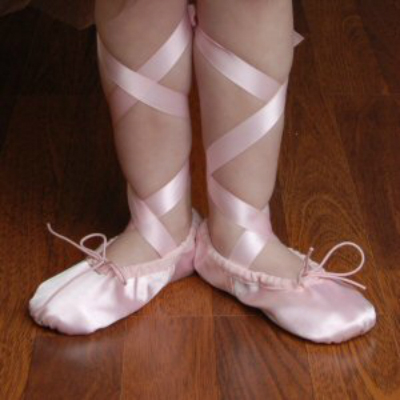 Pink Ballet Shoes with Ribbons