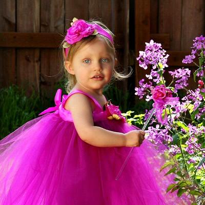 1c22fa82f Fuchsia Tulle Dress Floor Length Designer Flower Girl Gowns ...