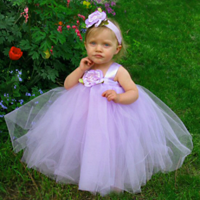ffea3bddb546d ... Flower Girls Lilac Fairy Princess Tutu Gown & Baby Headband.  baby-lavender-tulle-wedding-outfits