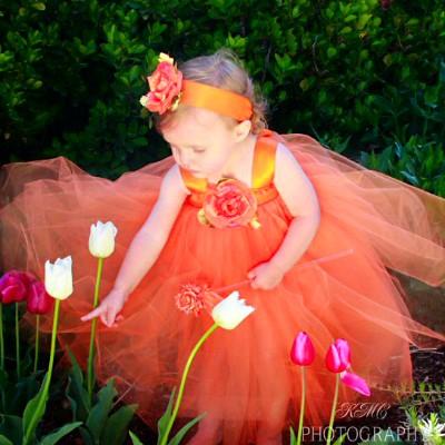 Orange-tulle-flower-girl-gown