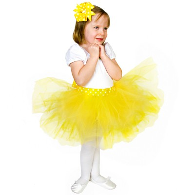 Yellow-Dot-Tutu-Bow