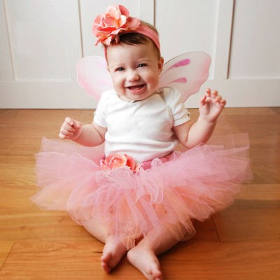 coral-rose-baby-fairy-set  sc 1 st  Fairytale Tutus & Baby Girls Coral Fairy Costume - Fairytale Tutus