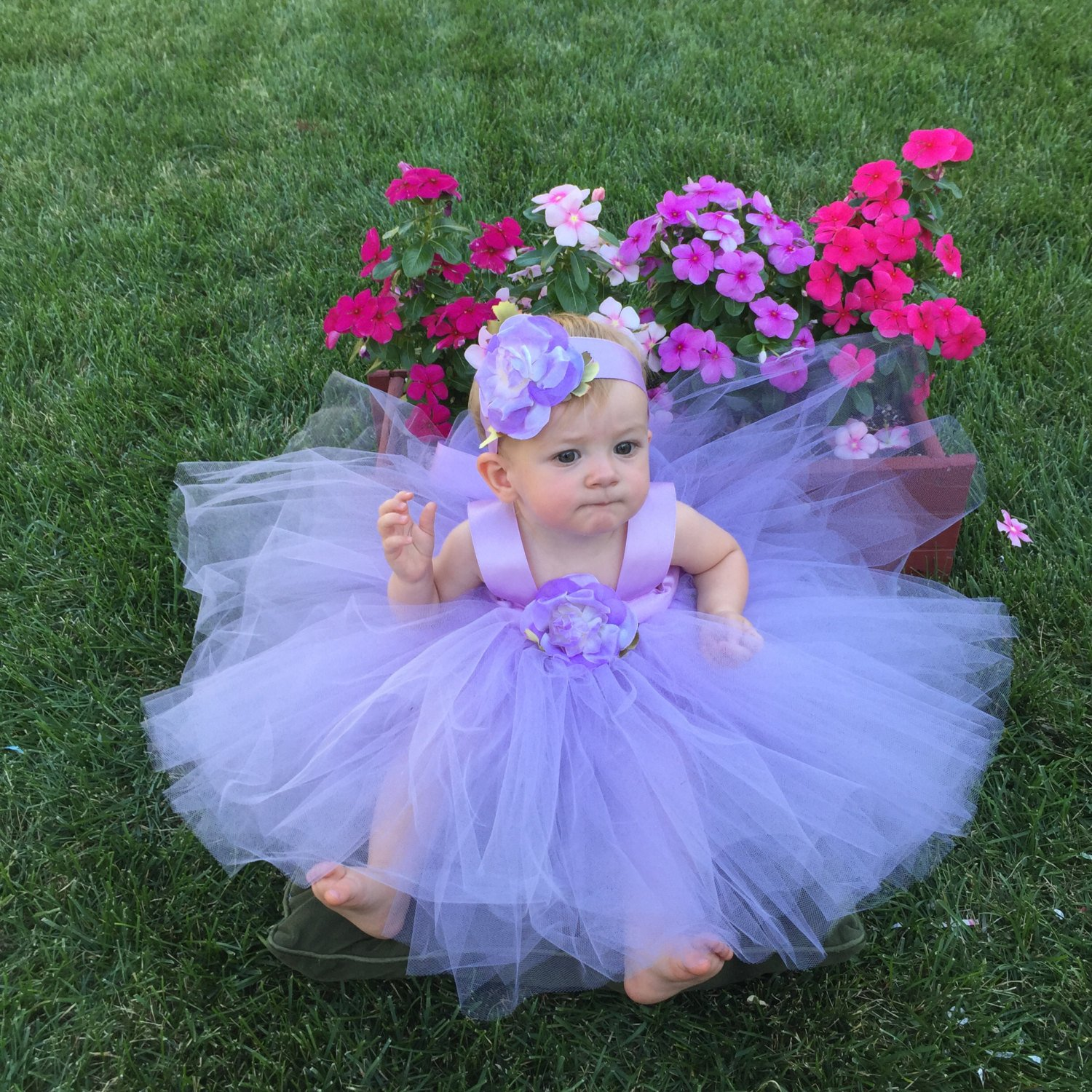 b8fac1797d Baby Flower Girl Dress Lilac Lavender Purple Tulle Custom Designer Flowergirl  Gown Hair Accessories Birthday Outfit Halloween Costume Ideas