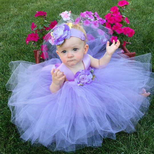 Baby Girl Special Occasion Toddler Wedding Dress Lavender Lilac Purple Flower Girl Attire Custom Made Tulle Gown Satin Sash Party Outfit Set