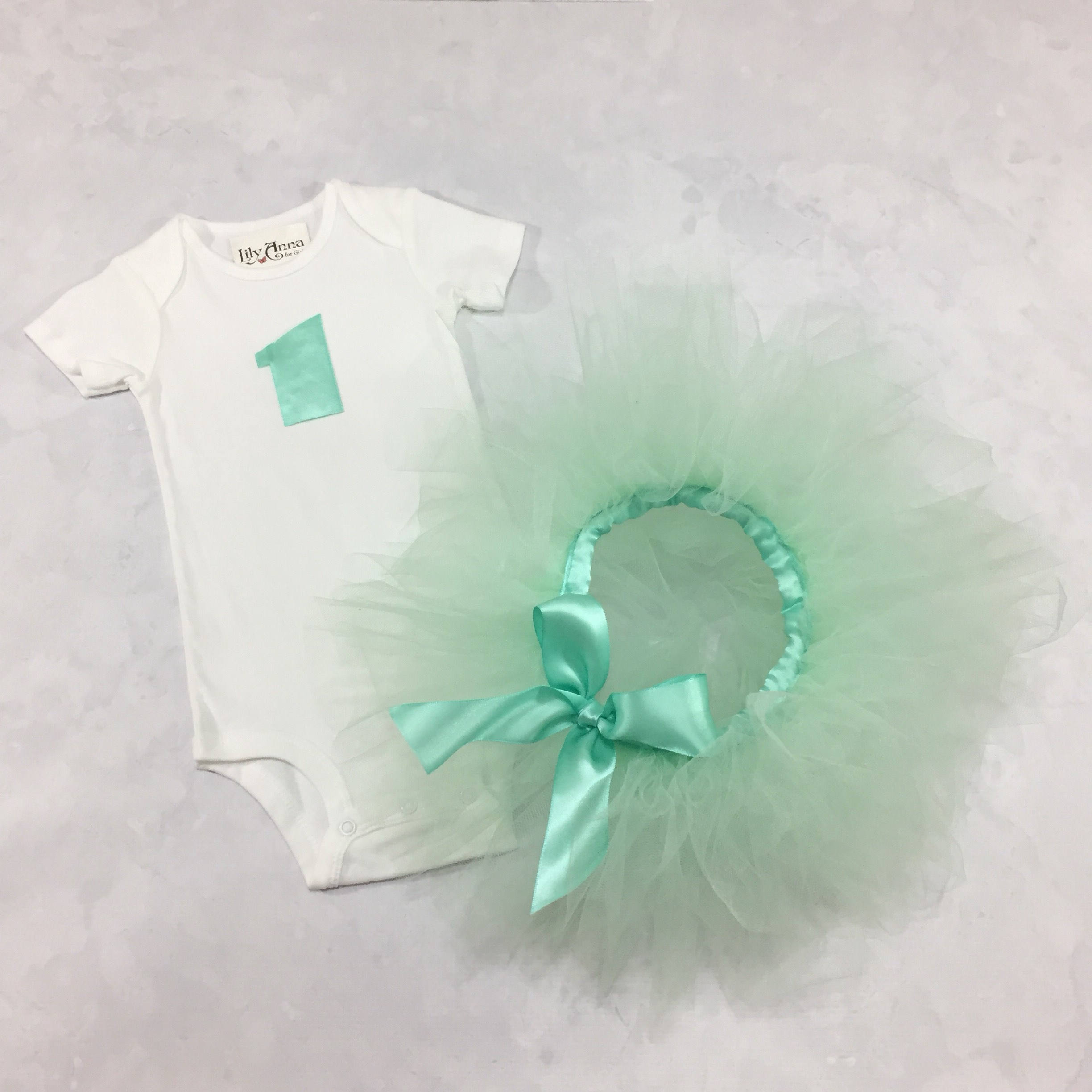 Baby Tutu 1st Birthday Set Mint Green One Onesie First B-Day Cake Smash Outfit Infant Girl Bodysuit Tulle Satin Photo Props