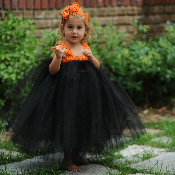 Black Tulle Dress Halloween Tutu Gown Orange Polka Dot Ribbon Bow Headband Outfit Flower Girl First Birthday Set Toddler Kids Witch Costume