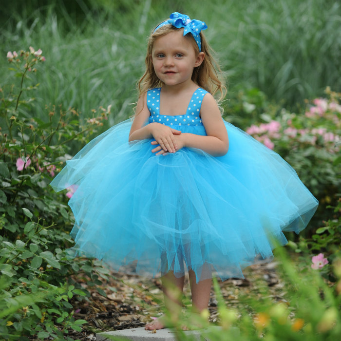 Blue Birthday Dress Blue Tulle Gown Blue Tutu Dress  Blue Polka Dot Dress 1st Birthday 2nd Birthday 3rd Birthday 4th Birthday