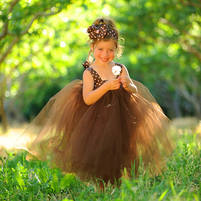 Brown Tulle Skirt Flower Girl Dress Fall Tutu 1st Birthday Outfit Autumn Wedding Attire Photo Props Polka Dot Bow Headband Thanksgiving Gift