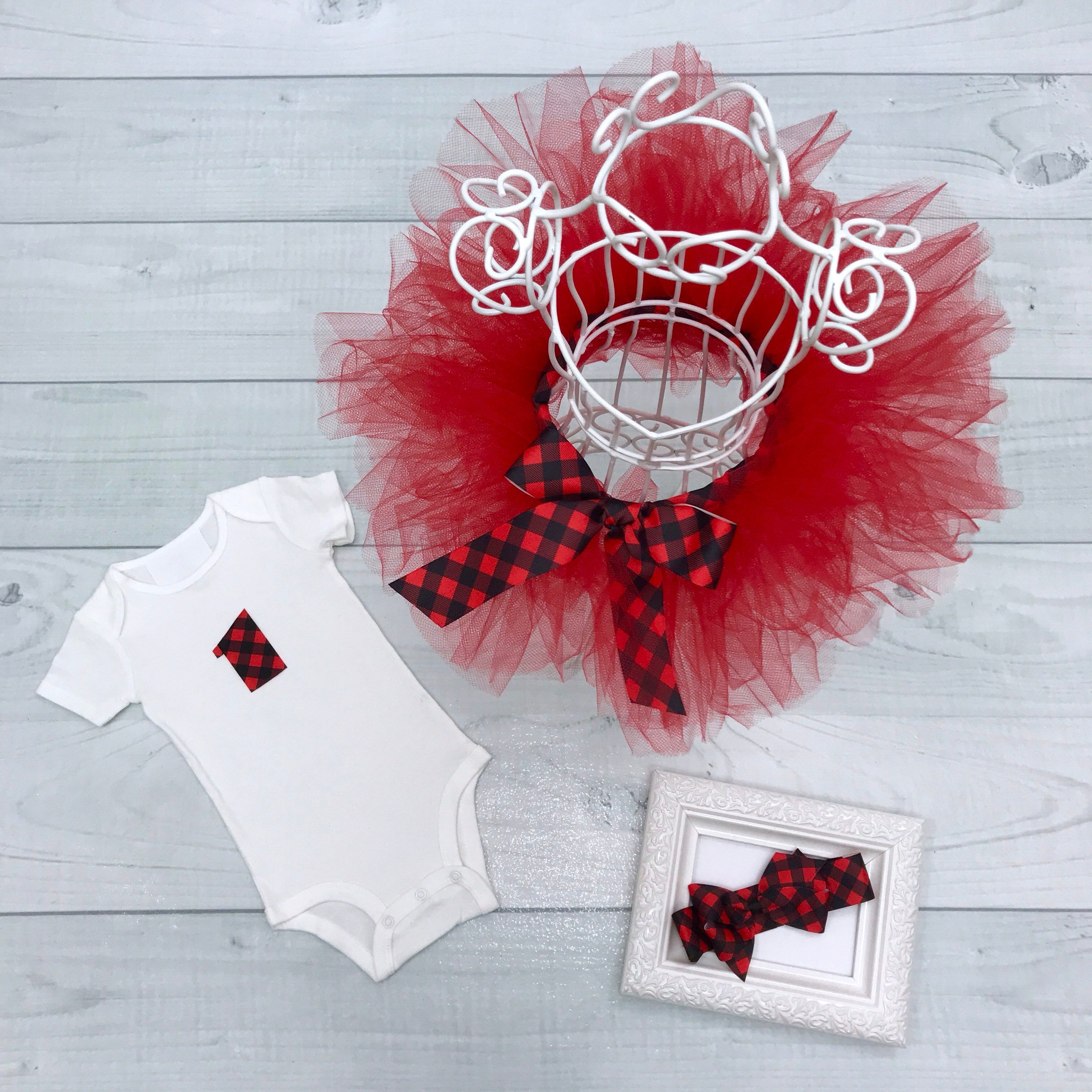 Buffalo Plaid Tutu Set, Baby Girl First Birthday Outfit, Red & Black Buffalo Check Ribbon Bow Headband, Infant Toddler Child 1st Bday Onesie