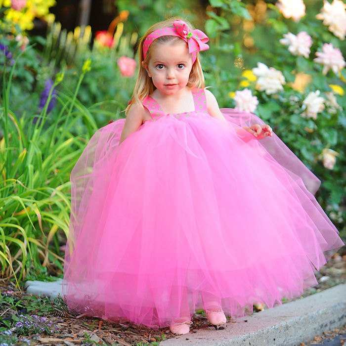 Custom Handmade Tulle Easter Dress Little Girls Flowergirl Gown First Birthday Hot Pink Green Polka Dot Ribbon Baby 1st Bday Photo Prop Set