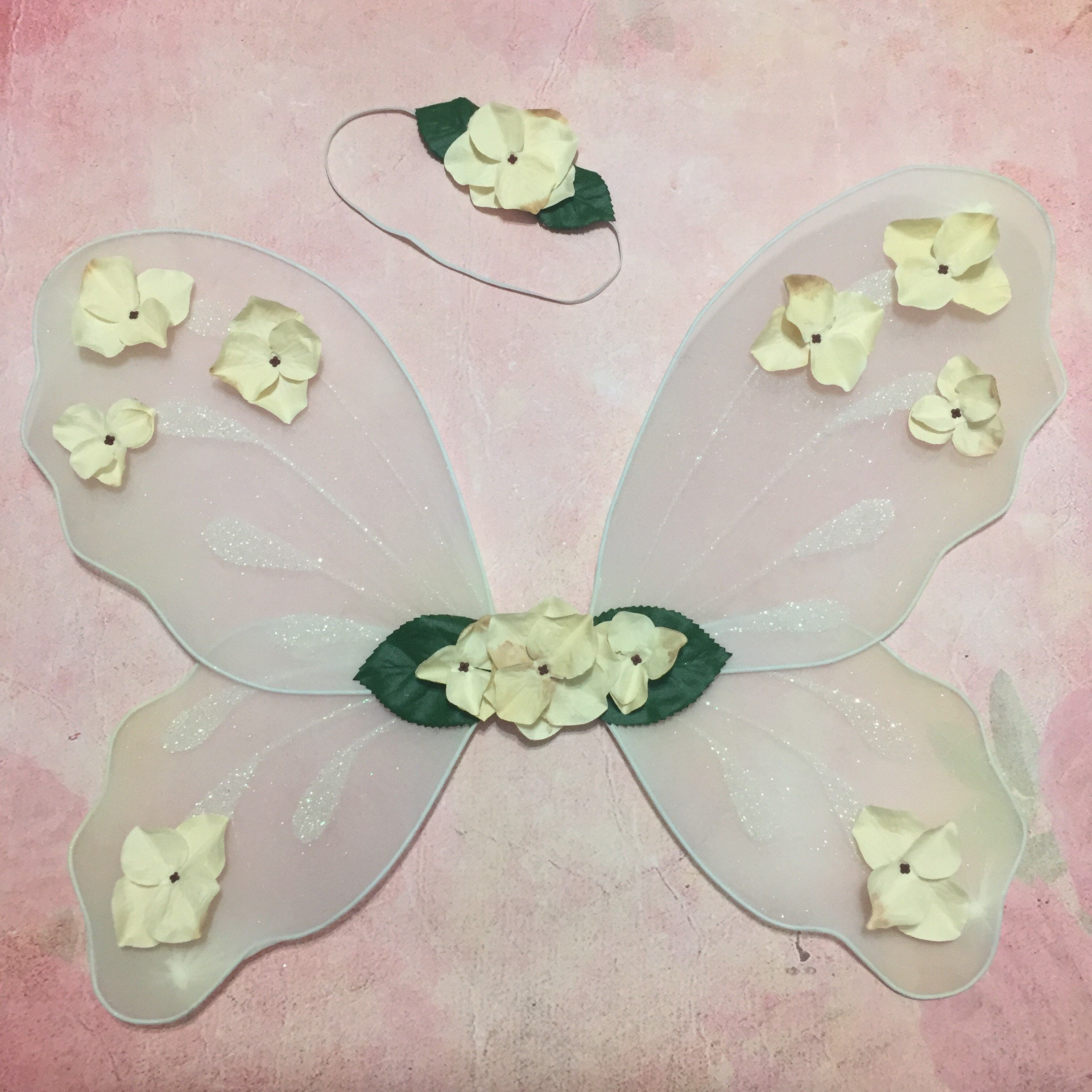 Fairy Costume Set Flower Girl Wings Ivory Floral Crown Cream Ecru Eggshell Off White Shabby Chic Rustic Woodland Wedding Outdoor Festival