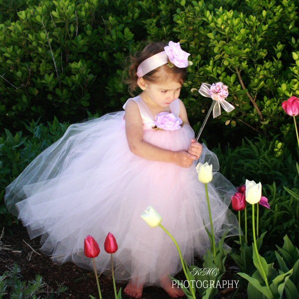 Flower Girl Dress Blush Pink Tulle Shabby Chic Boho Style Rustic Outdoor Wedding Fairytale Woodland Theme Tea Party Outfit Long Couture Gown