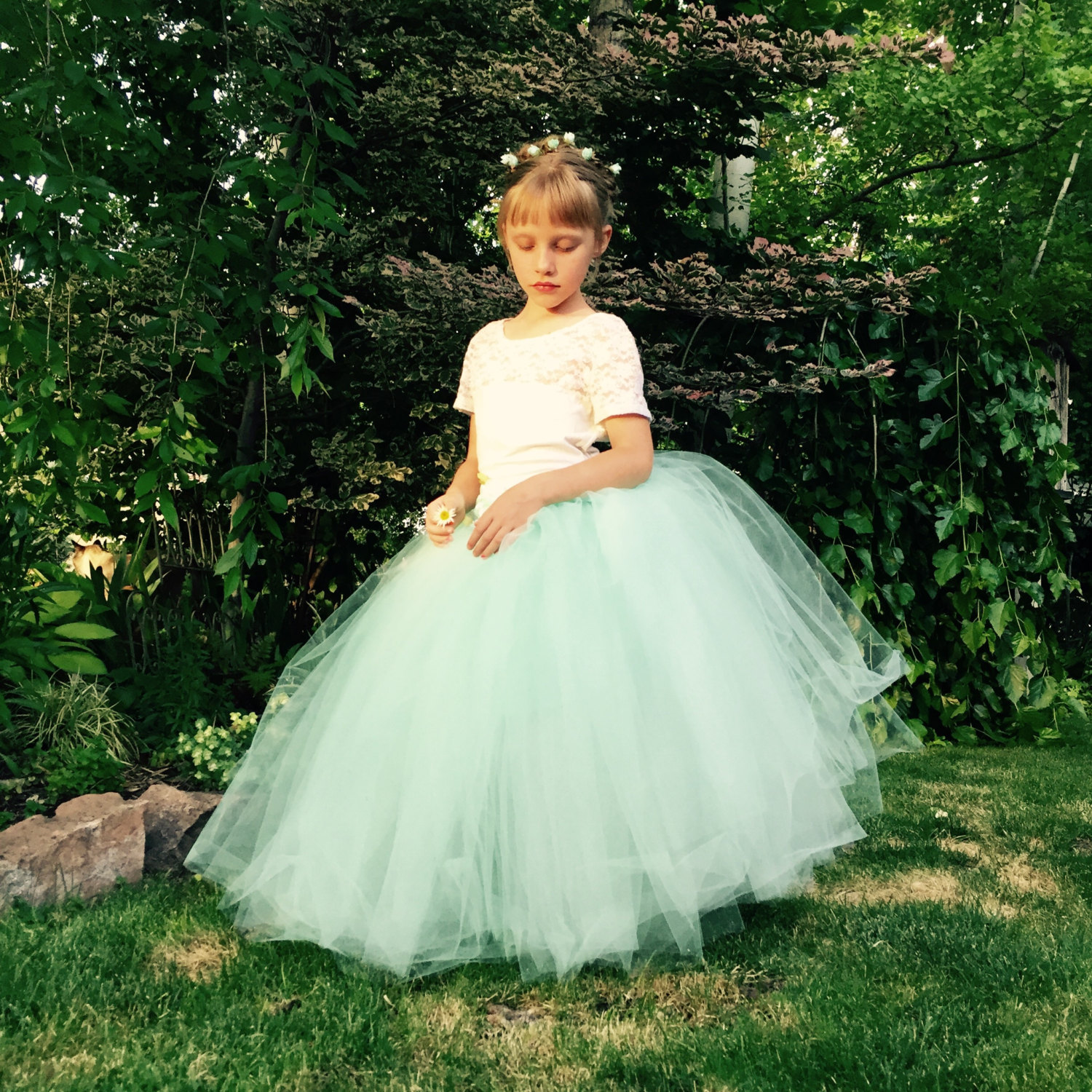 Wedding Flower Girl: Flower Girl Dress Mint Green Floor Length Tulle Skirt