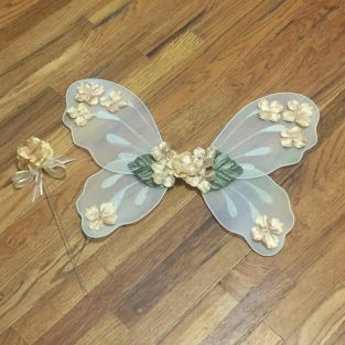 683743761a Gold Fairy Wings Flower Girl Wand Sugarplum Fairy Princess Halloween  Costume Baby Toddler Child Birthday Gift Idea Wedding Outfit Photo Prop
