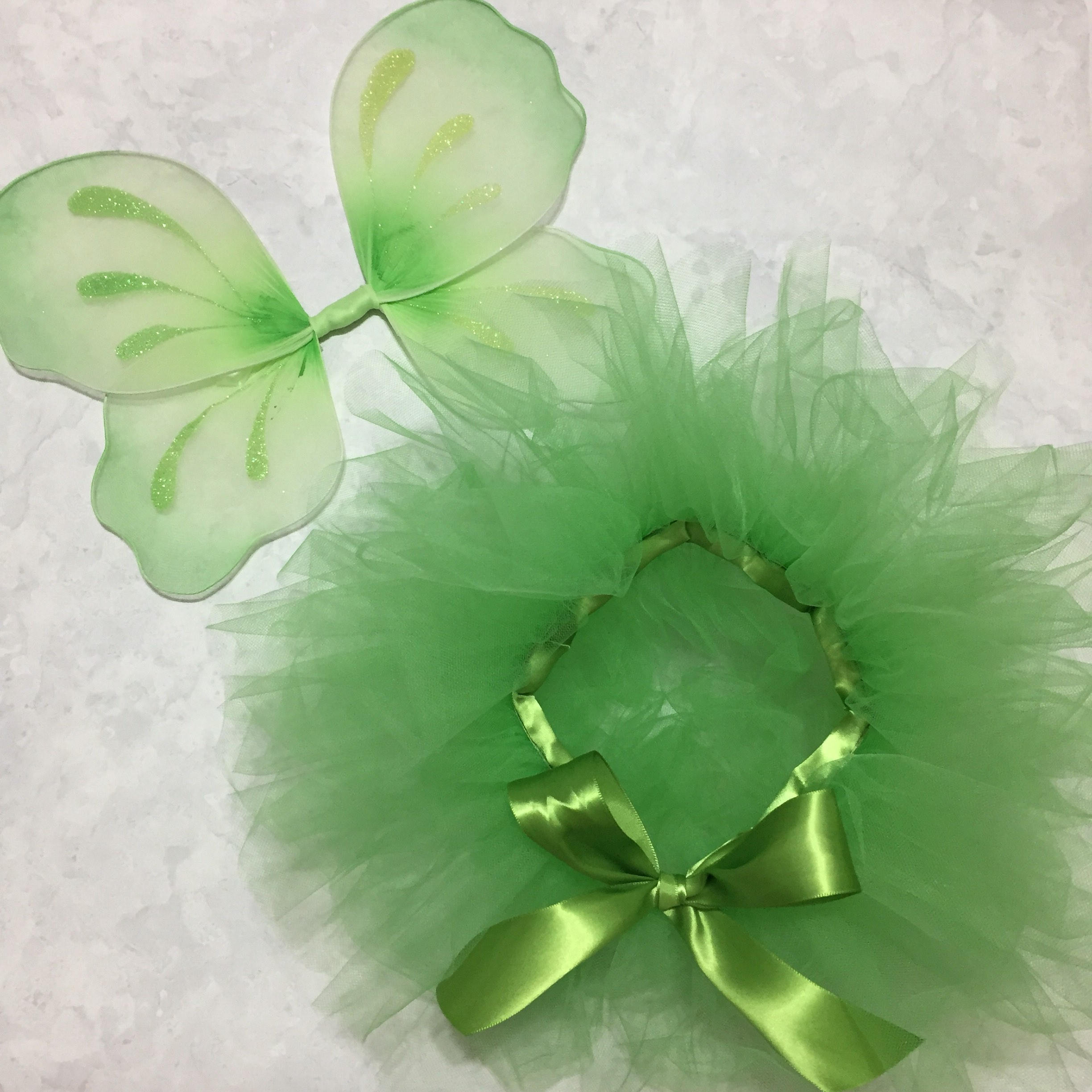 Green Fairy Wings & Tutu Set Tinkerbell Halloween Costume Pixie Hollow Dress Up Fairytale Princess Photo Prop First Birthday Outfit Ideas