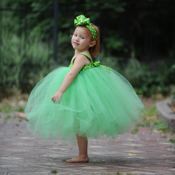 Green Tulle Easter Dress Flower Girl Gown Tutu Set First Birthday Outfit Polka Dot Ribbon Sash Bow Headband Saint Patrick's Day Photo Props
