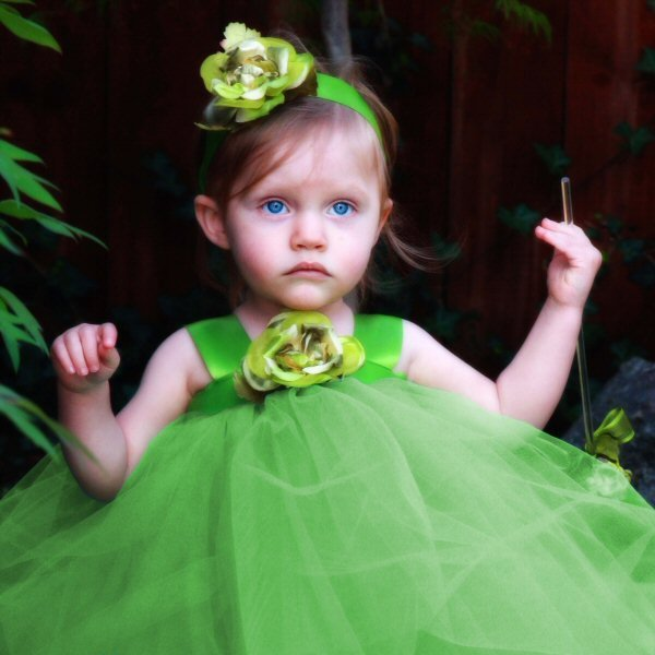 Green Tulle Flower Girl Dress Toddler Tutu Gown Rustic Woodland Wedding Fairy Costume Fancy Forest Flowergirl Pixie Halloween Costume Set