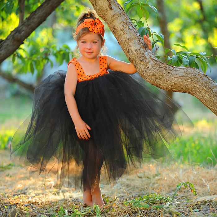 Halloween Dress Flowergirl Gown First Birthday Dress  Baby Baptism Gown Polka Dot Tulle Gown Flowergirl Dress 1st Bday Set