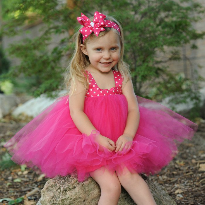 Hot Pink Polka Dot Tulle Gown, Flower Girl Tutu Set, First Birthday Dress 1st Bday Gift, Baby Toddler Infant Child, Photo Shoot Prop Outfit