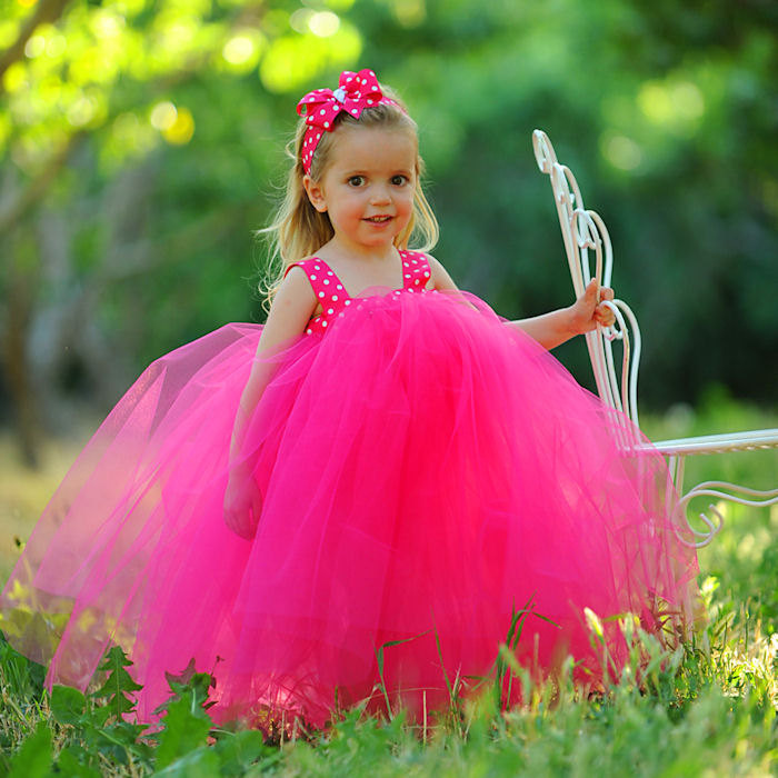 1ce38d35068b Hot Pink Tutu Dress First Birthday Party Children's Photography Prop  Couture Tulle Gown Flowergirl Tutu Set Custom Handmade Toddler Clothing -  Fairytale ...