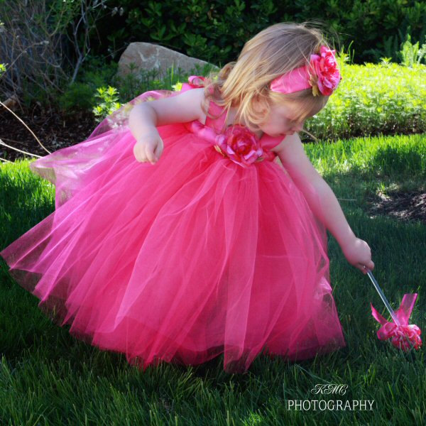 Hot Pink Valentine's Day Party Dress Tulle Satin Sash Couture Gown Silk Rose Headband Designer Flower Girl Formal Event Special Occasion Set