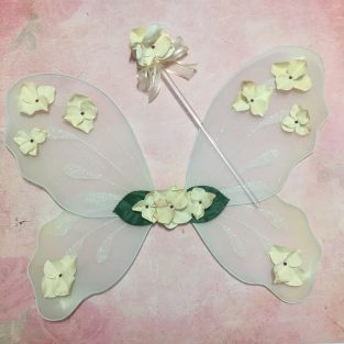 6fc36aae721 Ivory Fairy Wings Creme Silk Floral Pixie Princess Wand Flower Girl  Accessory Shabby Vintage Tea Stained Rustic Outfit Woodland Costume Set