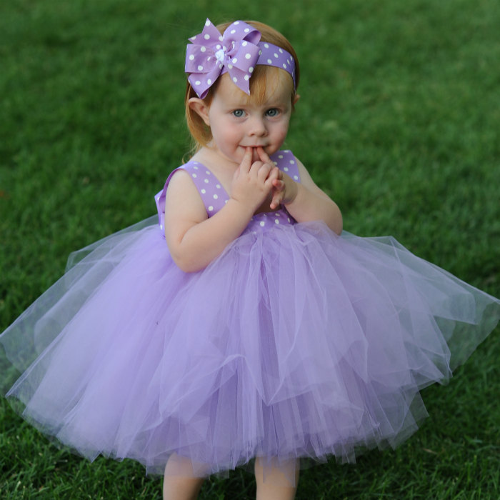 Lavender Tulle Dress Flowergirl Gown First Birthday Dress 1st Bday  Baby Baptism Gown Polka Dot Tulle Gown Flowergirl Dress