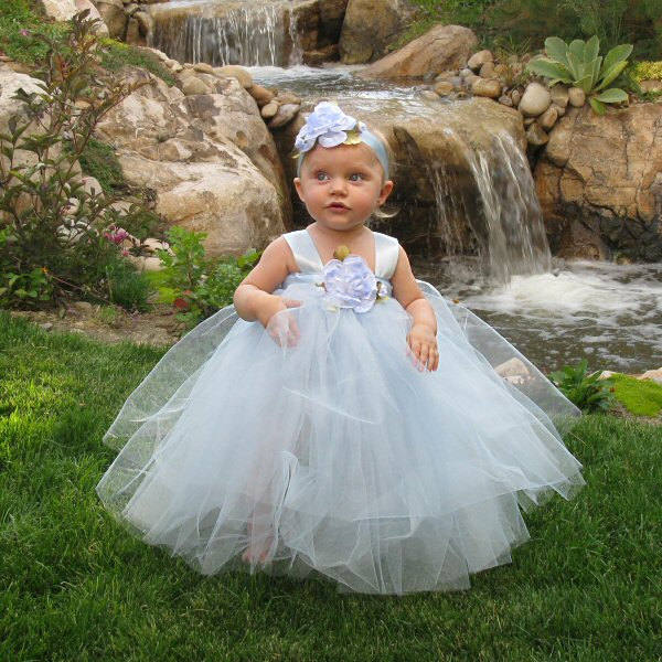 43d0ea83569 Light Blue Couture Tulle Gown Custom Handmade Special Occasion Dress Formal  Wear Baby Girl Fairy Princess Elsa Cinderella Flower Girl Outfit -  Fairytale ...