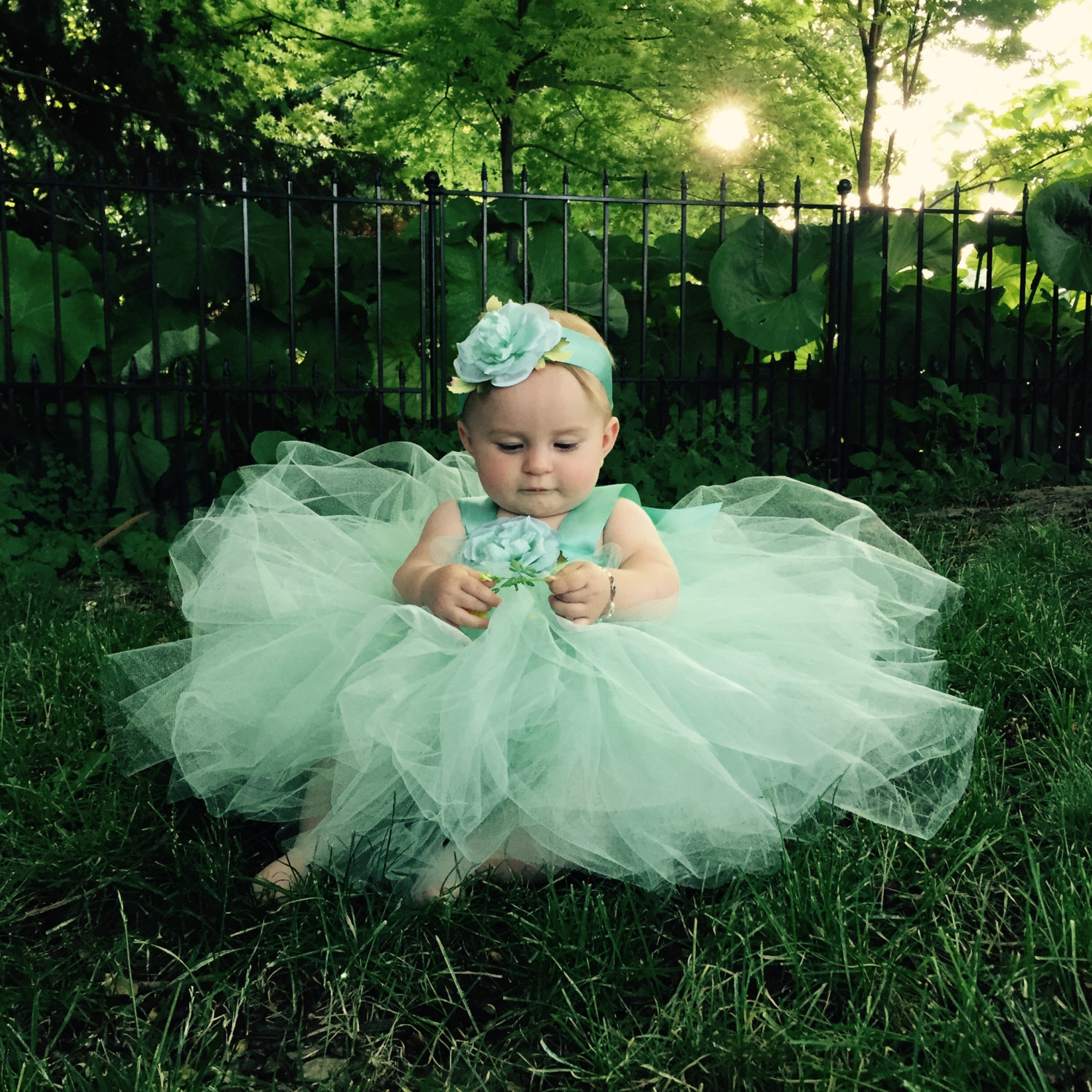 Mint Green Tulle Dress Flower Girl Attire Flowergirl Gown Christening Baby Blessing Set First Birthday Tutu Outfit Fairy Princess Costume