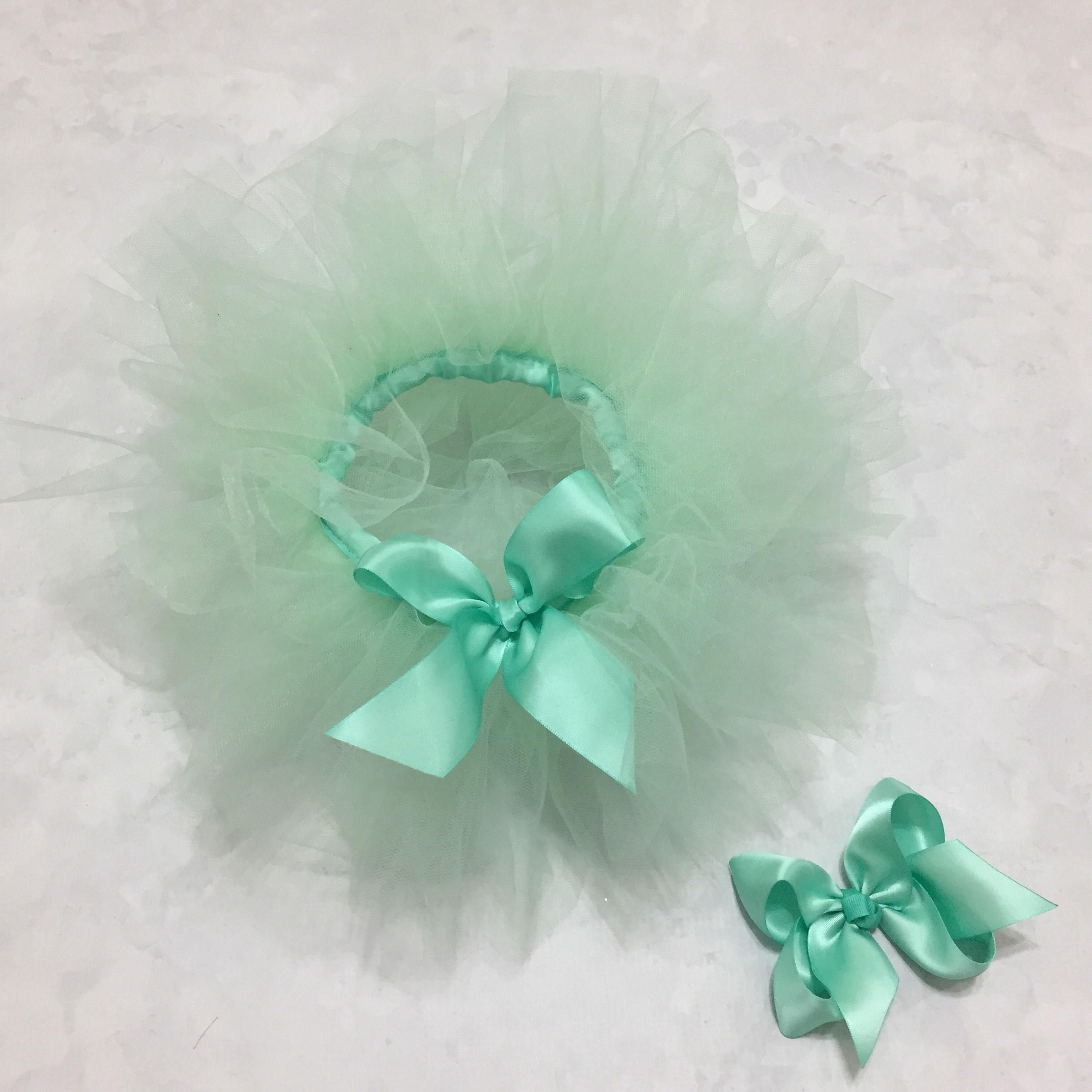 Mint Green Tutu & Satin Hair Bow Set Girls First Birthday Cake Smash Photo Prop Baby's 1st Bday Christmas Gift Ideas Toddler Dress Up Outfit