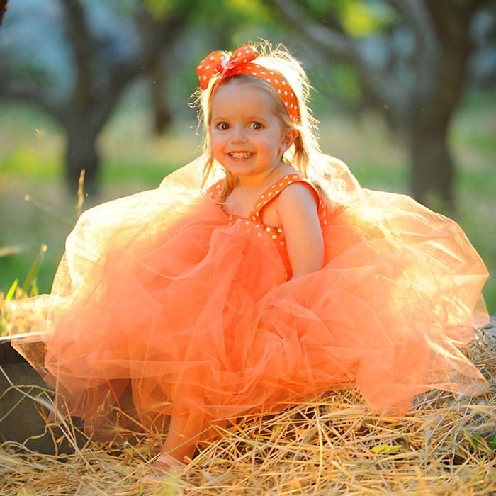 Orange Halloween Costume Pumpkin Dress Polka Dot Tulle Flowergirl Gown Fall Flower Girl Tutu Set First Birthday Outfit Baby Shower Gift Idea