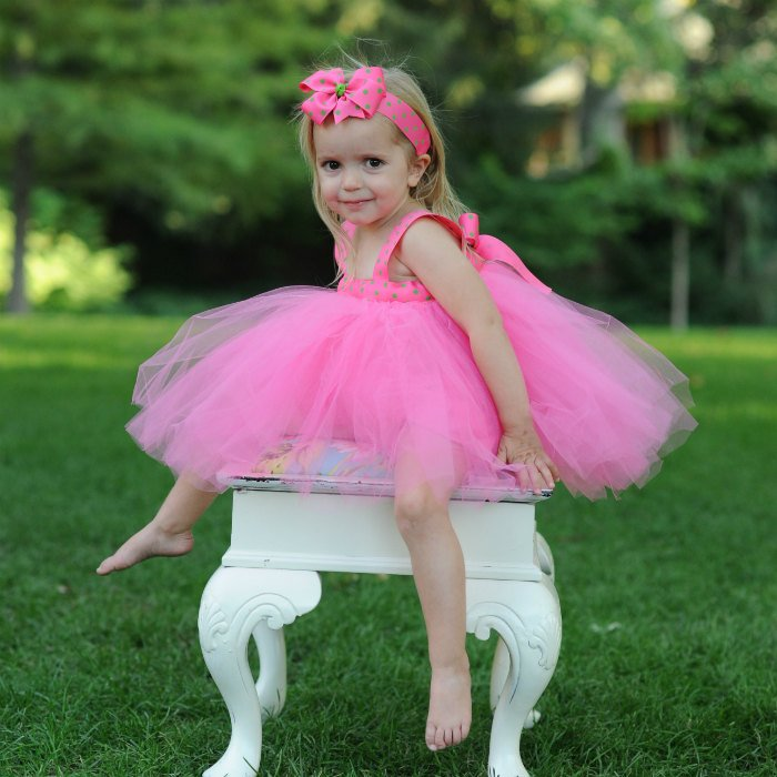 Pink Baby Tutu Gown Polka Dot Ribbon Bow Headband Bloomers Set First Birthday Photo Shoot Clothing Flower Girl Dress Special Occasion Attire