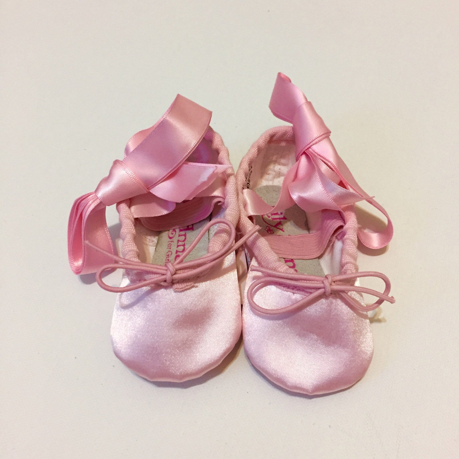 Pink Ballet Shoes Satin Flowergirl Slippers with Ribbons Infant Toddler Child Birthday Present Baby Shower Gift Ideas Costume Photo Prop Set