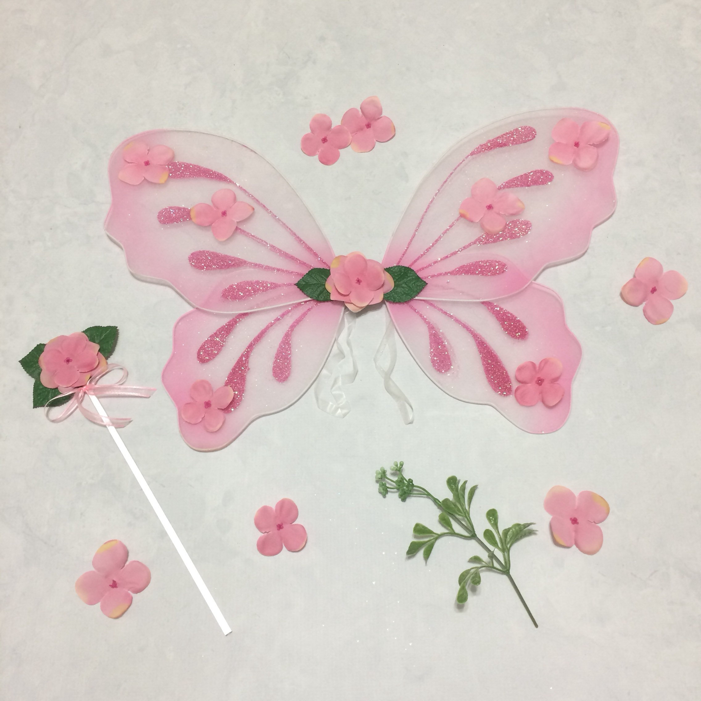 Pink Costume Fairy Wings Pixie Cosplay Princess Wand Flower Girl Accessory Shabby Chic Vintage Rustic Outfit Woodland Halloween Costume Set