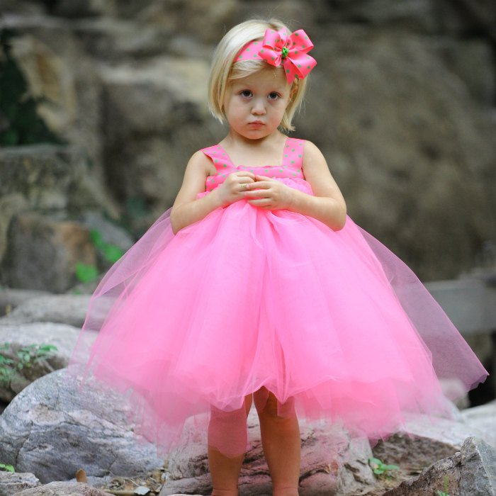 Pink Easter Dress Tulle Gown First Birthday Set Baby Tea Party Photo Shoot Prop Fairytale Tutu Polka Dot Ribbon Toddler Girl 1st Bday Outfit