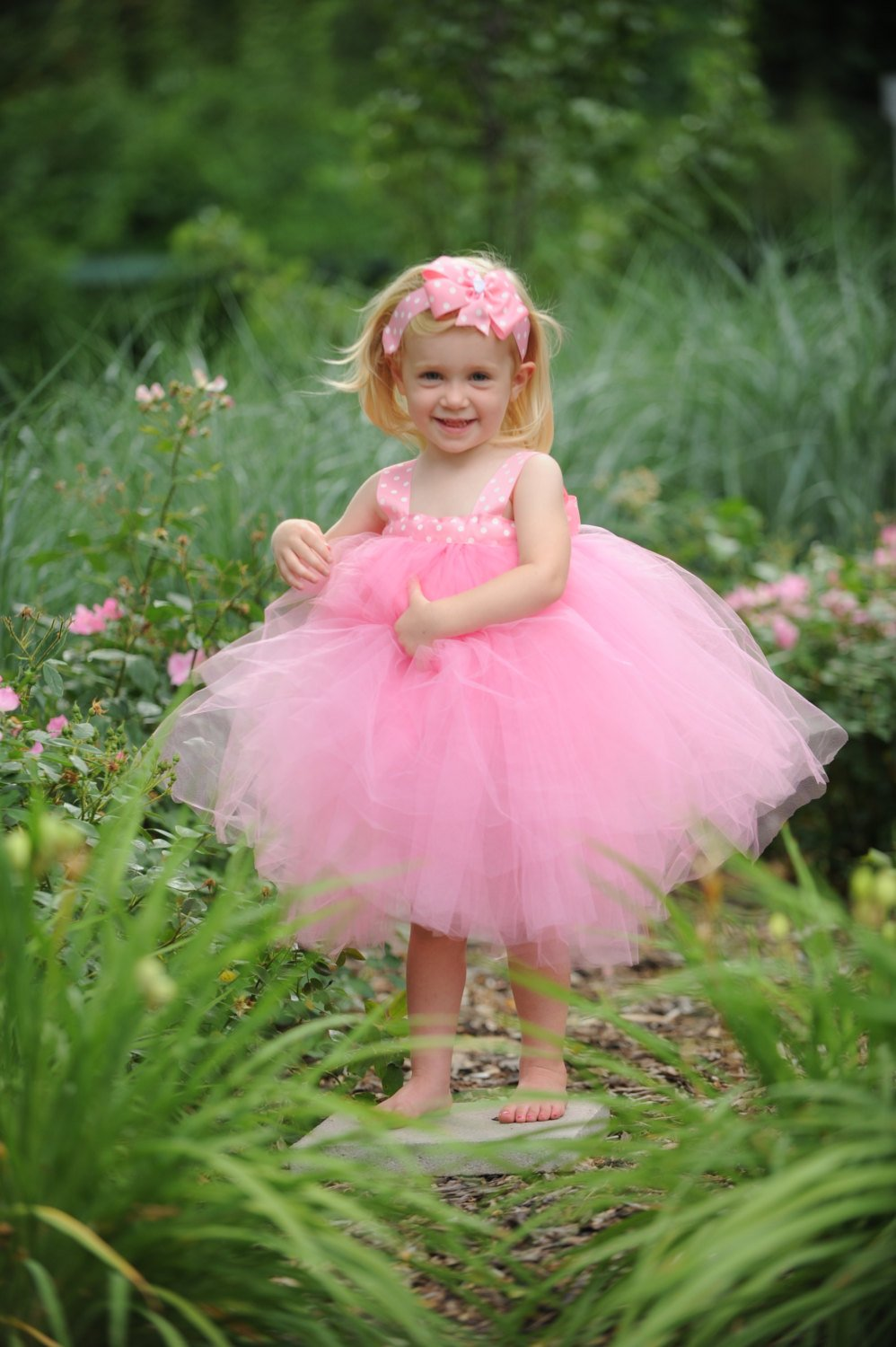Pink Flowergirl Gown First Birthday Dress Tea Party Tutu Baby Baptism Gown Polka Dot Tulle Flower Girl Dress Kid 1st Bday Set Toddler Outfit