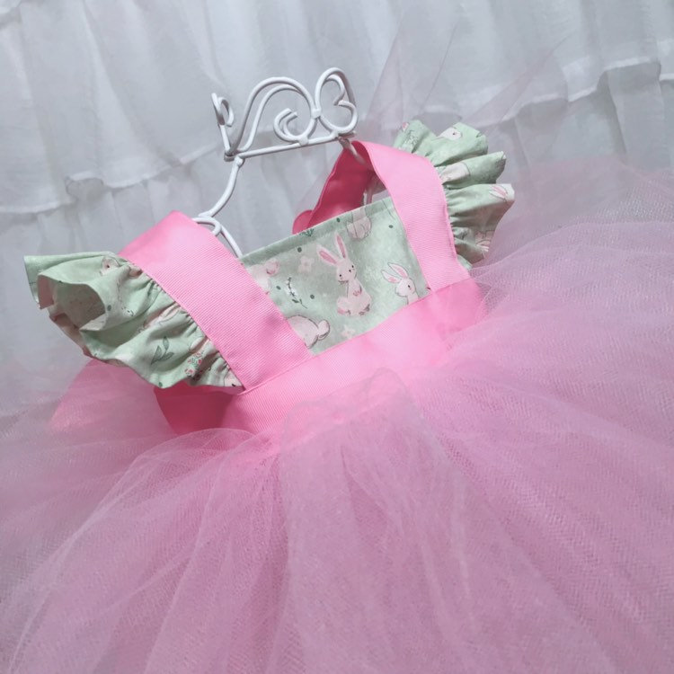 Pink & Green Easter Dress Mint Green Bunny Rabbit Flutter Sleeves Baby Girl First Birthday Outfit Photo Prop Special Occasion Tulle Gown Set