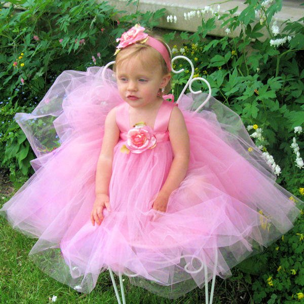 42e82c3fcf14f Pink Tulle Dress Fairytale Tutus Baby Toddler Birthday Princess Fairy Outfit  Silk Rose Headband Flower Girl Attire Holiday Flowergirl Gown - Fairytale  Tutus