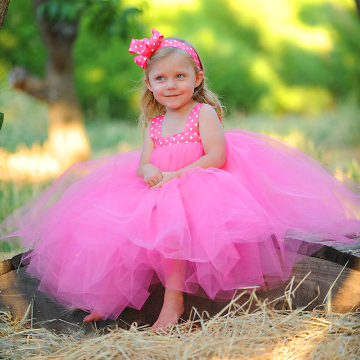 Pink Tulle Easter Dress Flowergirl Gown First Birthday Outfit Polka Dot Ribbon Bow Headband Photo Prop Special Occasion Kids Formal Apparel