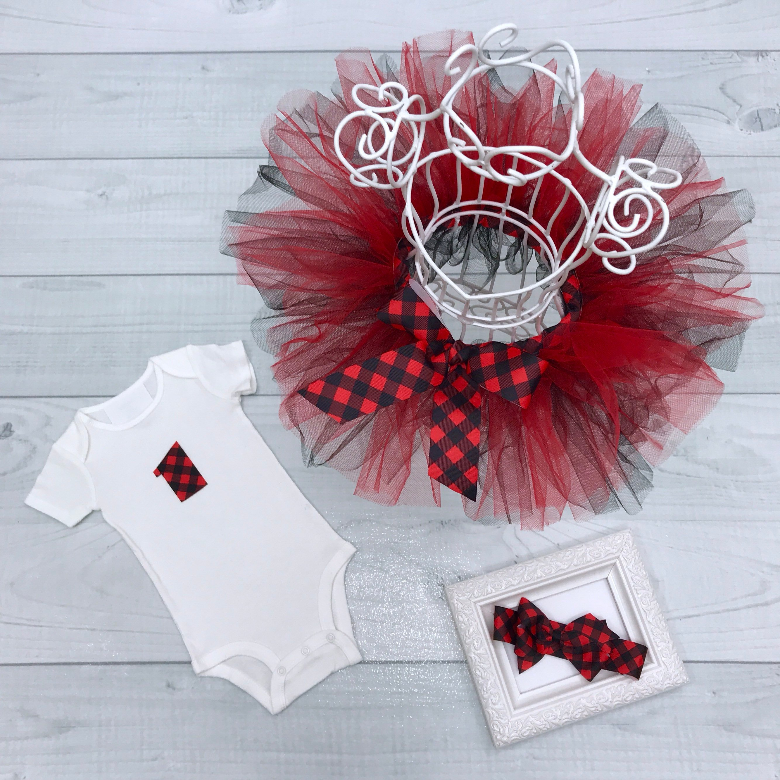 Red & Black Buffalo Plaid Tutu Set, Baby Girl First Birthday Onesie, Gingham Check Ribbon Bow Headband,  Toddler 1st Bday Cake Smash Outfit