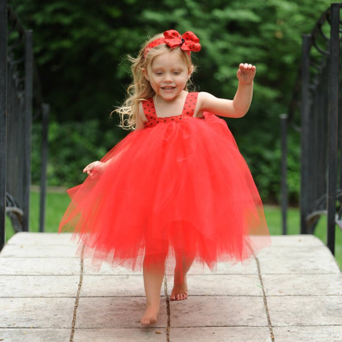 Red Black Polka Dot Dress Ladybug Birthday Party Outfit Tulle Gown Boutique Bow Headband Christmas Holiday Photo Prop Tutu Halloween Costume