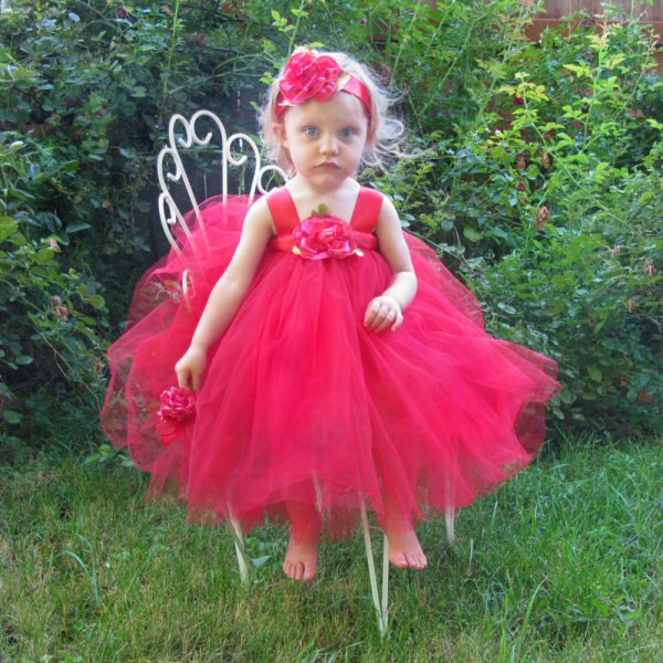 Red Tulle Flower Girl Dress First Birthday Outfit Baby Wedding Gown Flowergirl Toddler Skirt Ribbon Sash Bow Headband Set Photo Prop Clothes