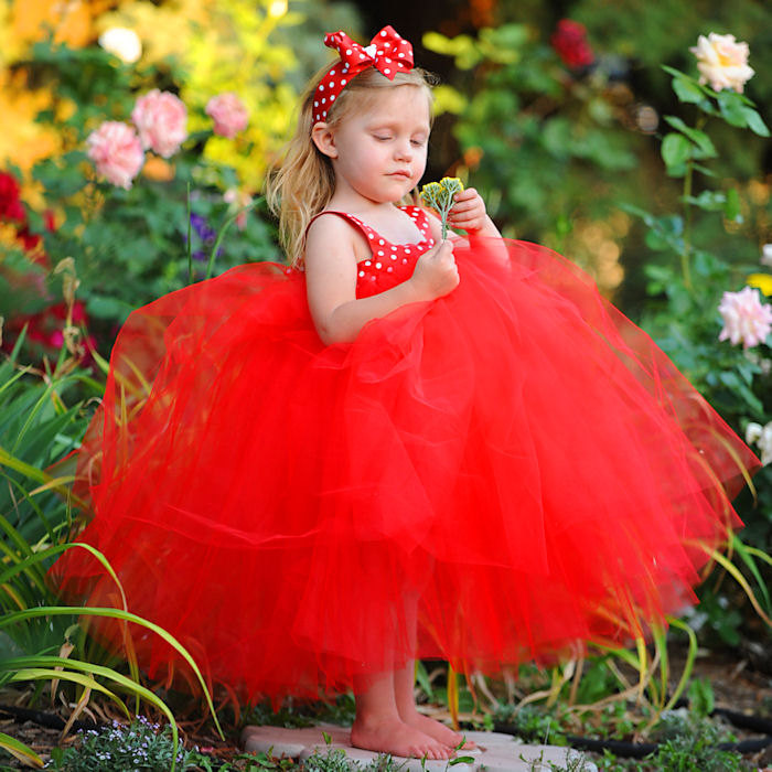 Red Tulle Flowergirl Gown First Birthday Dress Baby White Polka Dot Ribbon Bow Headband Toddler Flower Girl Special Occasion Clothes Outfit