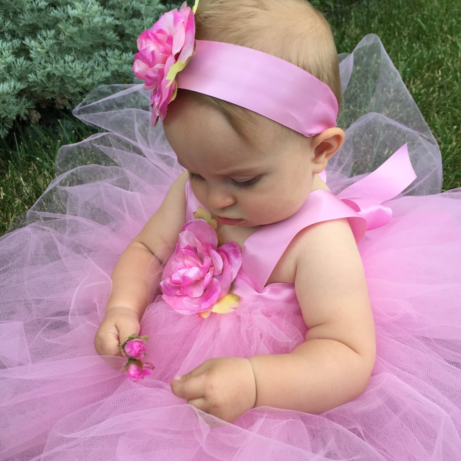 Sugarplum Fairy Tutu Flower Girl Dress First Birthday Baby Baptism Pink Tulle Flowergirl Gown 1st Bday Outfit Photo Booth Prop Clothing Set