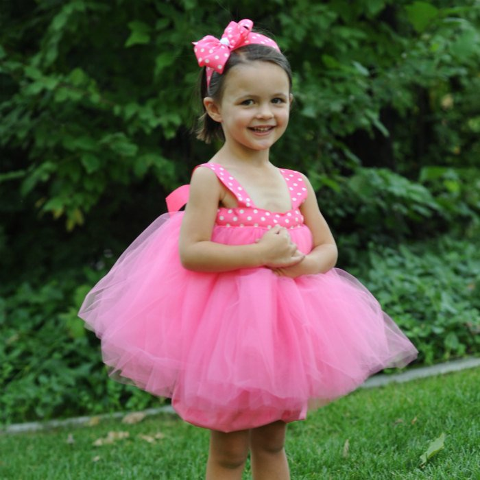 Tea Party Tutu Flowergirl Gown First Birthday Dress  Baby Baptism Gown Polka Dot Tulle Gown Flowergirl Dress 1st Bday Set