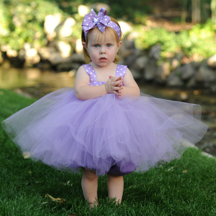 Tea Party Tutu Lavender Tulle Flowergirl Gown First Birthday Dress Baby Baptism Polka Dot Tulle Bow Headband Flowergirl Outfit 12 18 Months