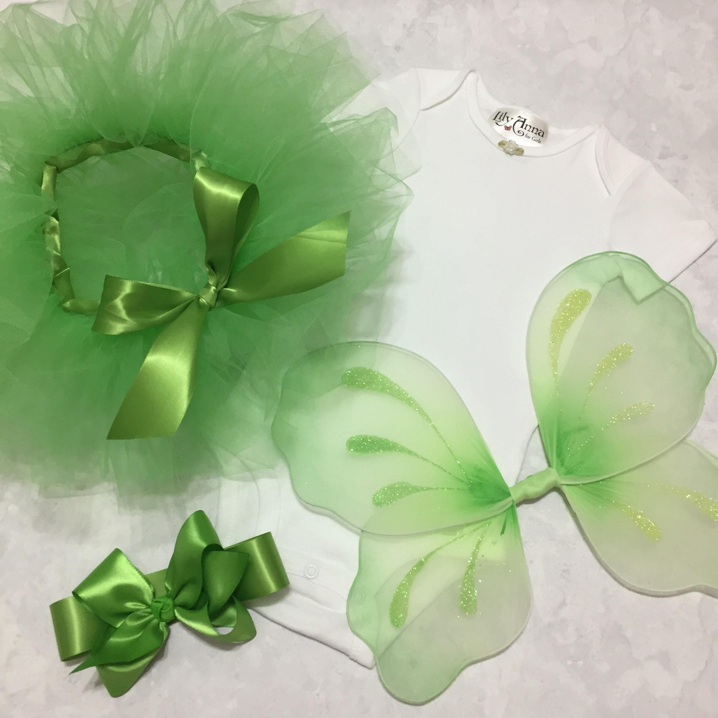 Tinkerbell Costume Green Tutu Set Infant Fairy Wings Baby Girl Onesie Toddler Halloween Costume Pixie Wings Bow Headband Tinkerbell Outfit