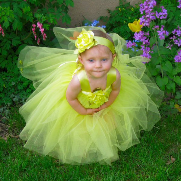 Tutu Flower Girl Dress Yellow Tulle Fairy Gown Silk Rose Satin Ribbon Sash Baby Girl Photo Prop Set First Birthday Outfit Toddler Gift Ideas